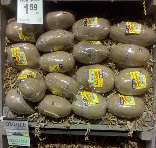 shrink wrapped potato