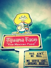 Tijuana Taco sign (Anti-Taco Bell) () Tags: family food usa sign america advertising fun corporate restaurant interesting colorful bell beef character united fastfood cartoon picture diner ground mexicanfood retro chain delicious mexican taco photograph americana dining 100 tacoma states lakewood roadside mexicans anti fried tacobell percent southtacomaway finemexicanfood tijuanataco