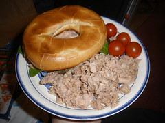 Toasted bagel with tuna