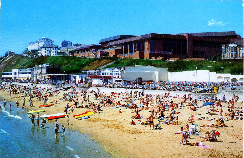 THE WEST BEACH AND THE WEST CLIFF FROM THE PIER.  BOURNEMOUTH.  1990