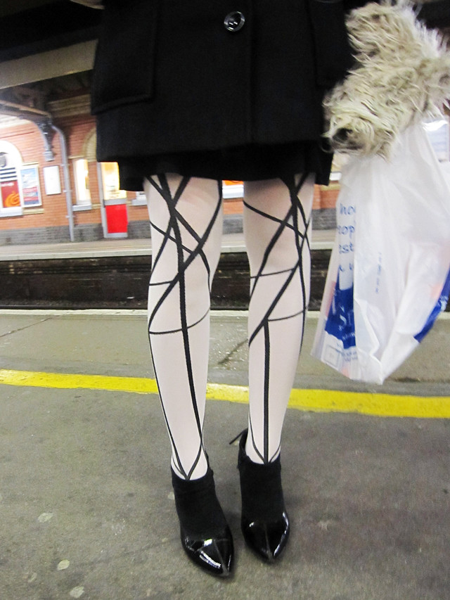 tights at the train station