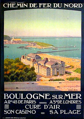 Old poster-Boulogne casino and beach