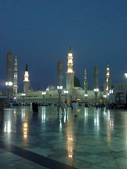 Masjid-e-Nabawi (S.A.W.) (Batool Nasir) Tags: travel blue grey minaret gray peaceful mosque editorial greenery saudiarabia masjid allrightsreserved madinah ©batoolnasir umrahfebruary2011