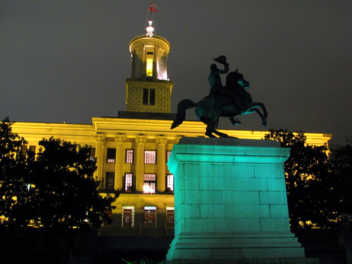 TN State Capitol & Jackson Statue at night