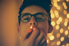 (Richard Stewart James Gaston) Tags: light boy party man film 35mm lights glasses student smoke young spot smoking fairy richard gaston