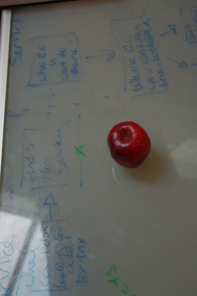An Apple on a White Board Table