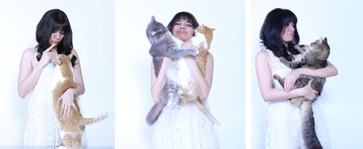 Yasmine with her cats