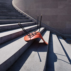 . (Ansel Olson) Tags: orange architecture modern stairs zeiss virginia chair furniture richmond va fiberglass eames uhoh midcentury 18mm distagon ivefallen thefallofmodernism