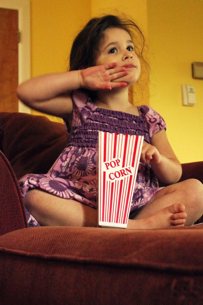 loves her popcorn