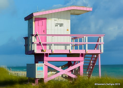 Lifeguard Off Duty (Desiree Banka) Tags: ocean door wood morning travel pink blue sea vacation white beach water grass clouds stairs stand sand rust florida miami stripes horizon lifeguard rope safety deck shore desiree grasses shack crisscross miamibeach atlanticocean banka lifeguardstand offduty atlanticcoast 2013 desireebanka desireesdezigns wwwdesireesdezignscom desireesdezignsco