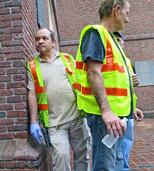 BostonWorkerinBlueGloves (fotosqrrl) Tags: boston massachusetts streetphotography urban washingtonstreet oldsouthmeetinghouse workers gloves vests