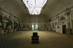 The dusty throne (RosLol) Tags: roslol decay urban abandoned salone armchair poltrona luxury lusso moquette polvere dust hall seat fivestars architecture dancing