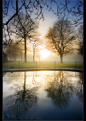 Reflected..... (Digital Diary........) Tags: park trees mist colour mystery reflections mood foreboding atmosphere victoria walker twotrees burnoff chrisconway goodlight