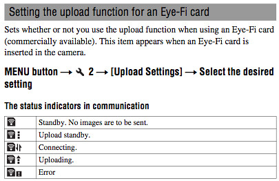 Complete instructions on using an Eye-Fi SD / SDHC memory card with the Sony A55, found on pages 147 and 148 of the Sony A55 Manual