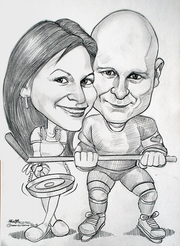 ice hockey player and cook caricature in pencil