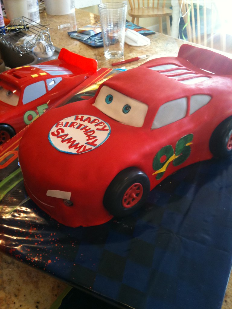 Lightning McQueen Birthday Cake Next to Toy
