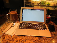 Working at A Cafe - MacBook Air 11 Inch