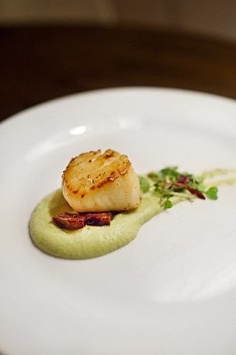 Seared Scallop with Yuzu Edamame Puree