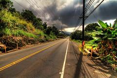 Big Island Highway (Joseph Eckert) Tags: road light shadow plants sun plant texture lines clouds canon island hawaii big power jan telephone january pole 7d nik rays asphalt electrical 1022mm kona hdr topaz electricty 2011 photomatix