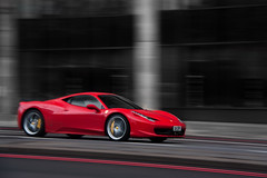 Speed. (Alex Penfold) Tags: park camera red london cars alex sports car speed canon photography photo cool italia shot image awesome picture fast super ferrari spot exotic photograph lane cry panning supercar parklane spotting numberplate exotica supercars penfold s11 spotter 458 2011 450d hpyer s11cry