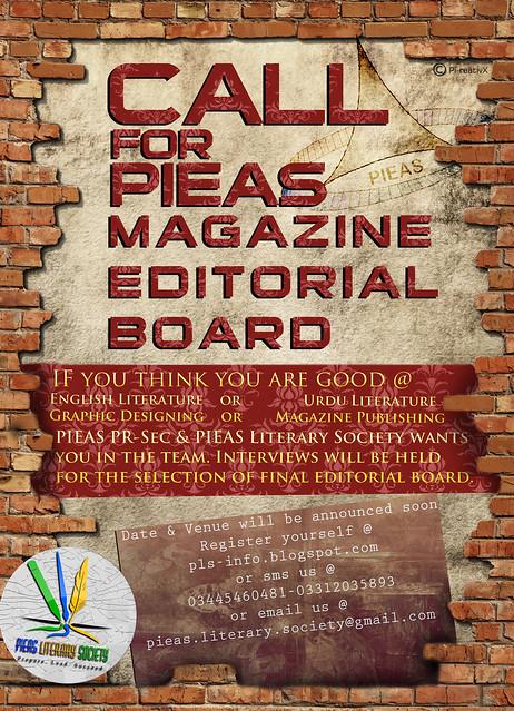 a call for PIEAS Magazine Editorial Board