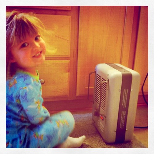 Catie & the space heater (our BFF on cold mornings)