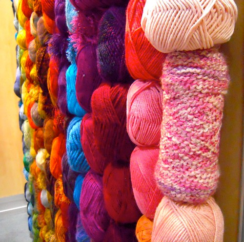 wall of yarn at LION booth