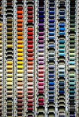 """""""Sew What"""" (with apologies to Miles Davis) (Canadapt) Tags: abstract thread graphic sewing patterns rack repetition mondrian colorphotoaward canadapt"""