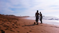 Beach life (16:9clue) Tags: africa travelling beach boys ball coast sand widescreen soccer shoreline silhouettes playa beachlife morocco shore pointandshoot 169 2009 travelphotography beachsoccer beachline oualidia 169clue walidiyah