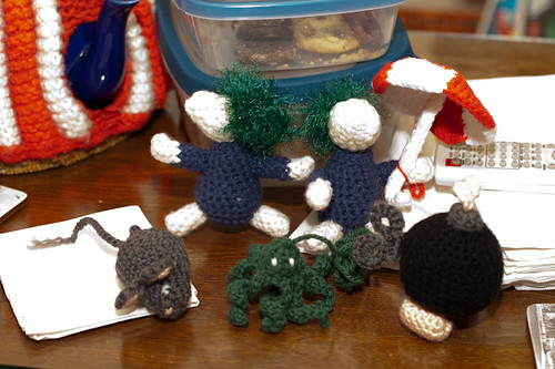 Amigurumi lemmings, mouse, octopus, and bob-omb