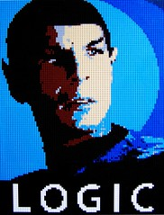 "Vote Spock  30""x40"" (Dave Shaddix) Tags: startrek phoenix lego mosaic nerds spock virgins comicon dweebs logic nimoy mankinder unbathedmasses"