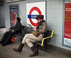 Horse Riding Subway Man (Magic Pea) Tags: red man london scarf underground subway logo photography photo boots tube euston horseriding purplehair centrallondon magicpea