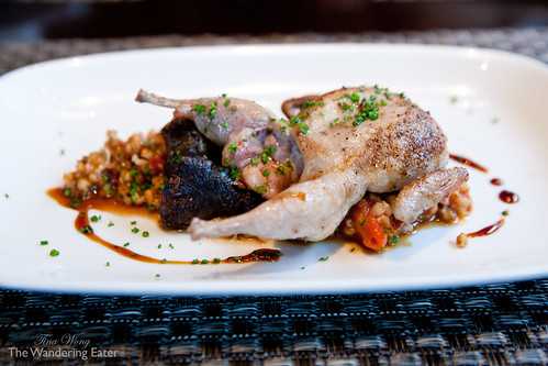 Roasted quail with farro,
