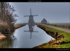 Facing the Foggy Side... (Peterbijkerk.eu Photography) Tags: windmill geotagged nederland swans molen noordholland windmolen nld zwanen schermerhorn peterbijkerkeu hdrimistfog geo:lat=5260333650817208 geo:lon=4858143788818343