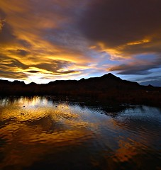 Water & Light (Ph0tomas) Tags: sunset sky mountain lake newmexico water clouds sunrise reflections river landscape lumix pond g g1 f4 socorro mmountain vario 714mm mygearandme