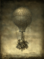 Escape (Yaroslav Gerzhedovich) Tags: mist art fog photoshop dark painting acrylic escape grim balloon picture surreal dreamlike drybrush