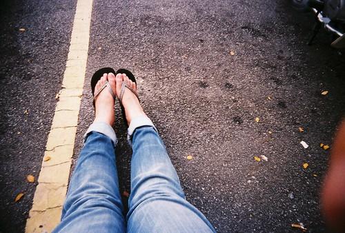 Boycut Jeans & Flip Flops
