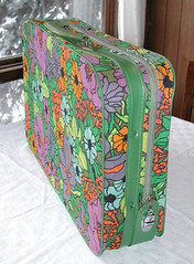Funky Floral Vintage Suitcase w/Green Piping - Side (SunsetSide) Tags: trip travel flowers vintage spring vibrant laptop decoration kitsch case luggage etsy cheerful decor functional springtime carryon laptopbag vintagehome sunsetsidevintage mediumsuitcase