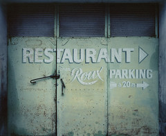 roux4 (Anders Hviid) Tags: door old france sign logo restaurant la chez roux typeface turbie