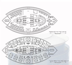 Proposed Typical Office Floor Plans and Roof Top Restaurant Plan
