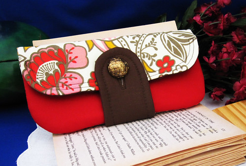 Foldover Clutch with a front pocket and button closure