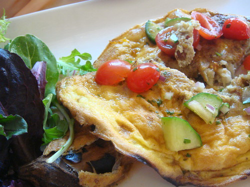 Tortang Talong - Asian eggplant, roasted and rolled up with sauteed onion, cucumber, cilantro, kamatis (tomato).