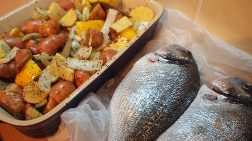 Bream and potatoes ready to cook
