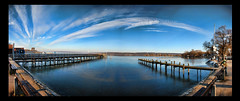 Ammersee Panorama (TYLERS11) Tags: bridge blue sky panorama lake color nature sunshine clouds photoshop germany bayern see cool nikon drawing tyler brcke ammersee hdr d80 nikond80 colorphotoaward tylers11