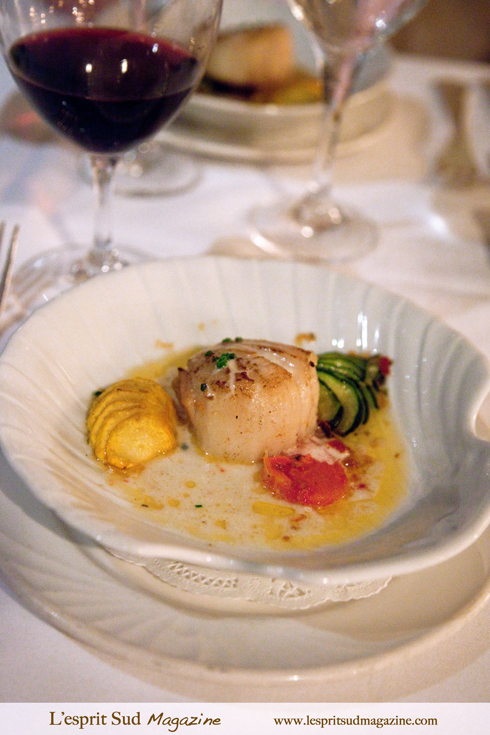 Napoleon of seared Alaskan diver scallop (Michel's at the Colony Surf - Waikiki Beach)