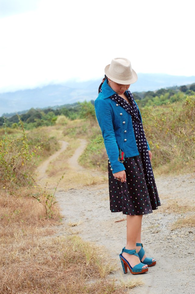 polkadot dress and scarf and blue jacket