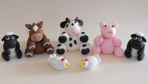 Farm Animals Fondant Cake Toppers