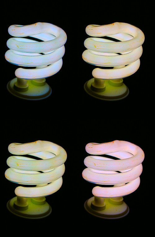 Change of fluorescent bulb color with phase