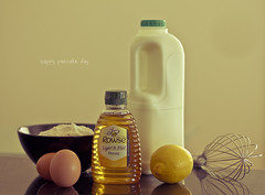 Happy Pancake Day! (benjiphig) Tags: cooking kitchen cake canon vintage dessert happy 50mm prime milk lemon day dof sweet bokeh text cook honey saturation tuesday eggs hungry pancake dairy flour fifty lightroom nifty lent shrove 550d