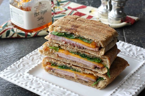 Toasted Panini with Ham, Cheddar & Pepper Jelly LS